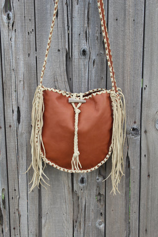 Leather tote, fringed tote handbag