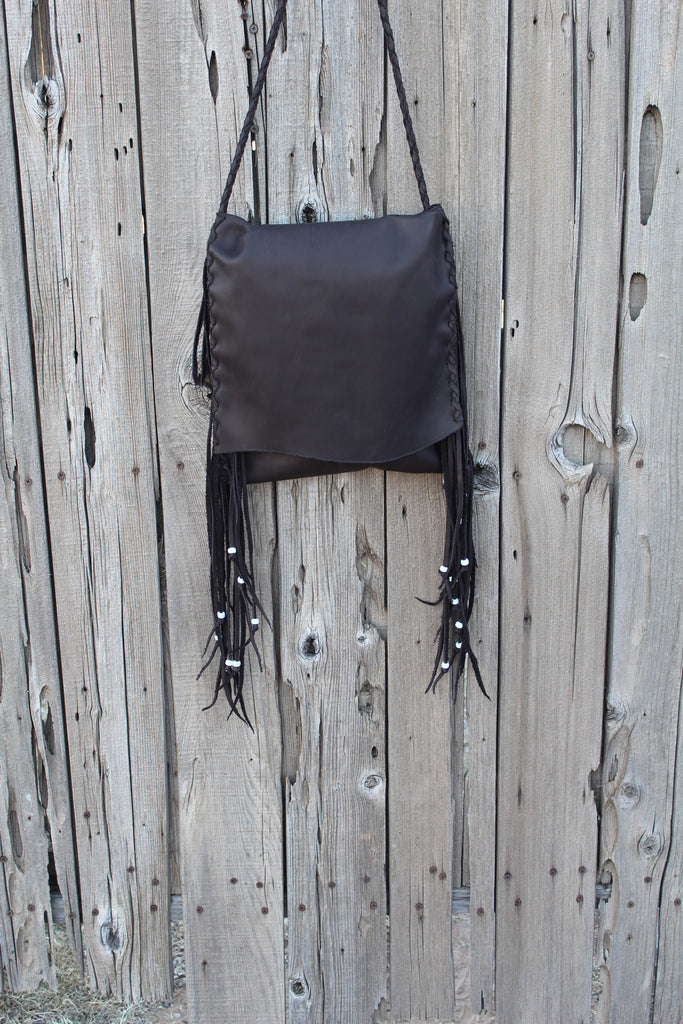 Brown leather handbag, fringed boho hippie style crossbody bag