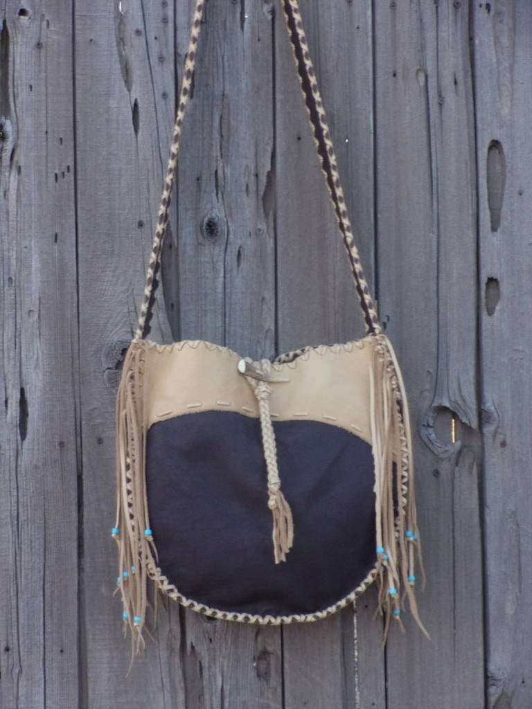 Leather tote, handmade bag, drum bag