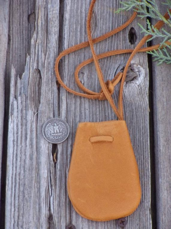 Soft leather medicine bag , Leather necklace bag , Leather crystal bag