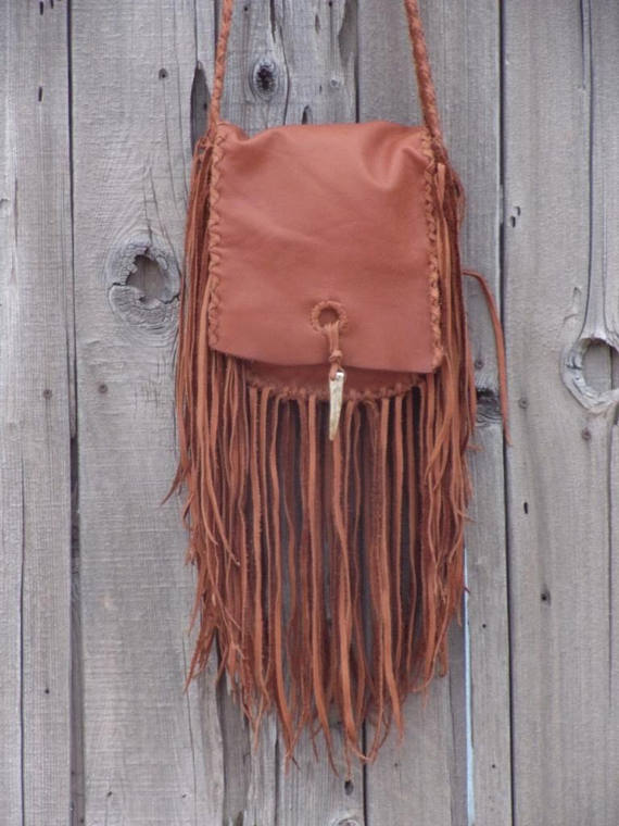 Crossbody shoulder bag with fringe , Soft brown handbag , Fringed leather purse
