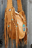 Beaded leather tote, beaded Thunderbird totem handbag