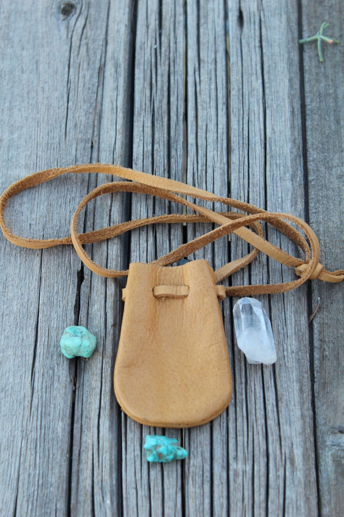 leather necklace bag, medicine bag, crystal pouch