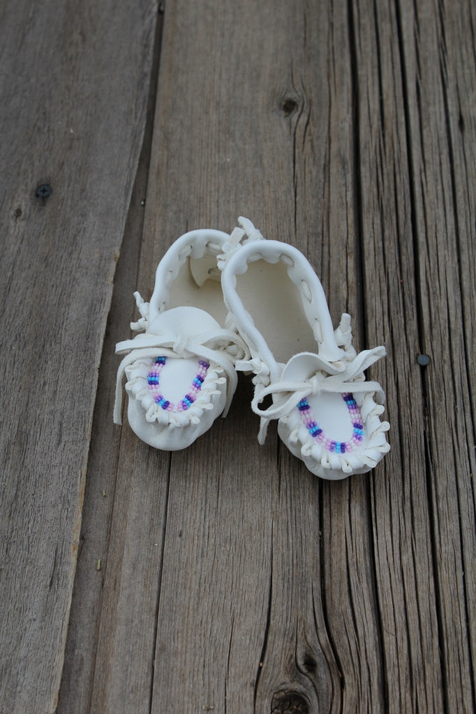 Beaded baby moccasins, buckskin baby moccasins