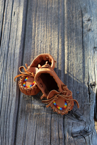 Beaded baby moccasins, leather moccasins