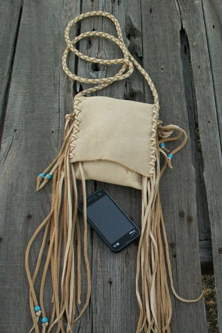 Leather handbag with fringe, crossbody phone bag