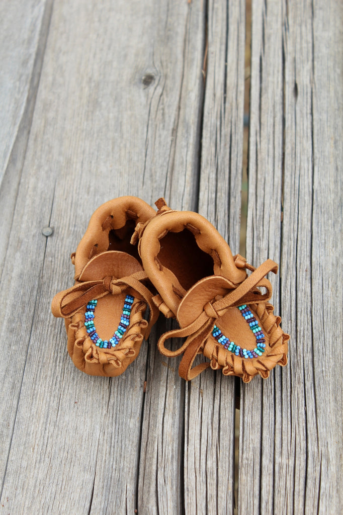 Beaded baby moccasins, baby boy moccasins, baby shoes