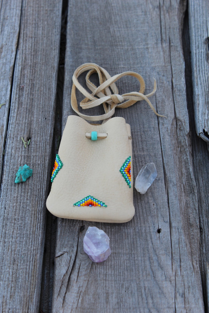 Beaded leather medicine pouch, amulet bag, mojo bag