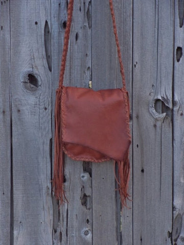 Handmade leather handbag with fringe , Possibles bag , Leather man bag