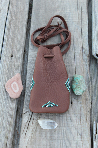 Beaded amulet bag, buckskin leather pouch