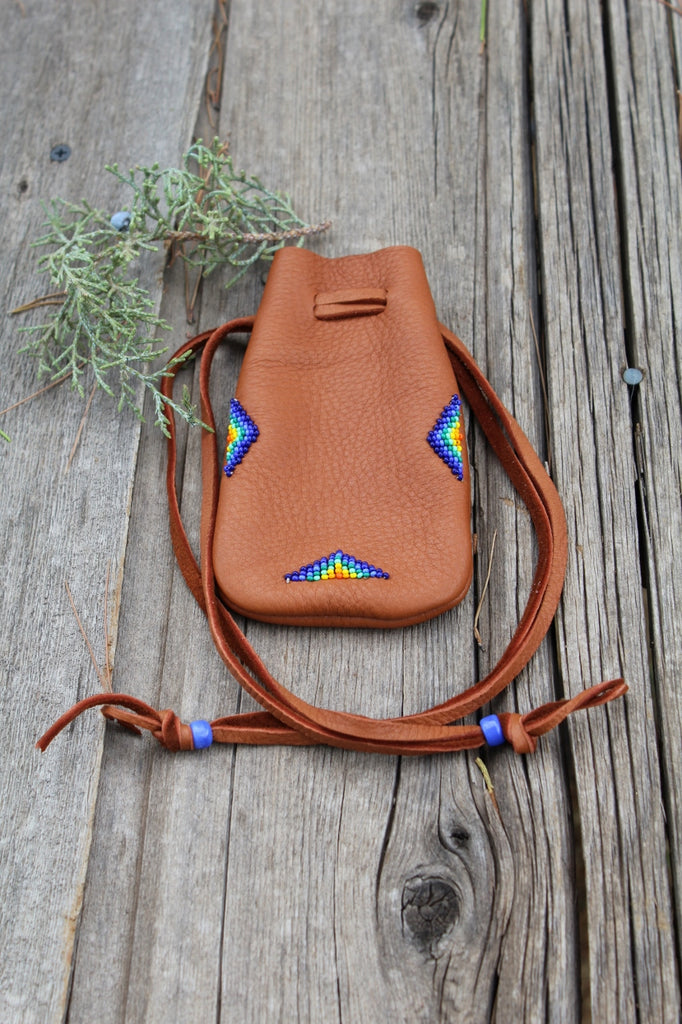 Large leather medicine bag, beaded buckskin bag