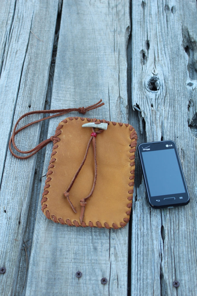 Leather cell phone bag, handmade phone bag