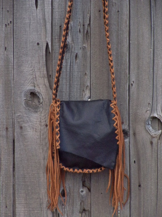 Black leather bag with fringe . Black leather crossbody bag , Possibles bag
