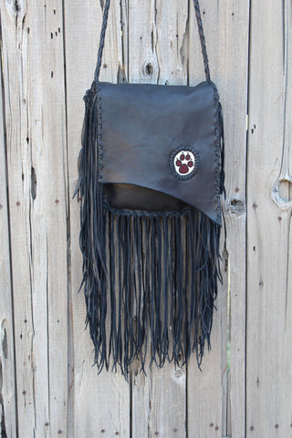 Fringed black handbag, beaded wolf paw handbag