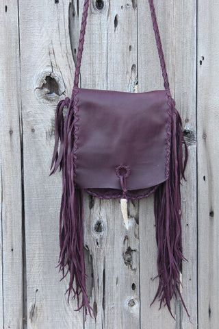 Burgundy crossbody handbag with fringe , Fringed leather purse