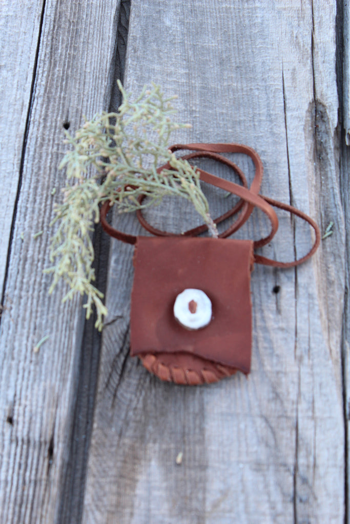Leather medicine bag, necklace bag