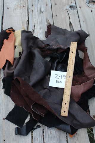 Elkskin leather scraps , Scrap leather , Craft leather scraps , 243