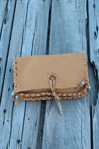 Large leather clutch, tan leather clutch