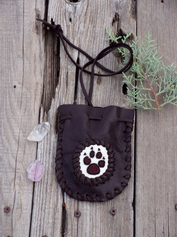 Beaded wolf paw medicine bag , leather amulet bag
