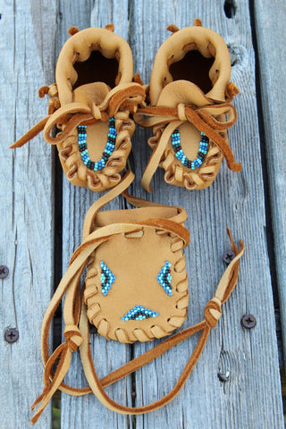 beaded baby moccasin set, baby shower gift
