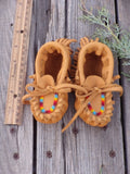 Baby moccasins , buckskin moccasins, beaded baby moccasins