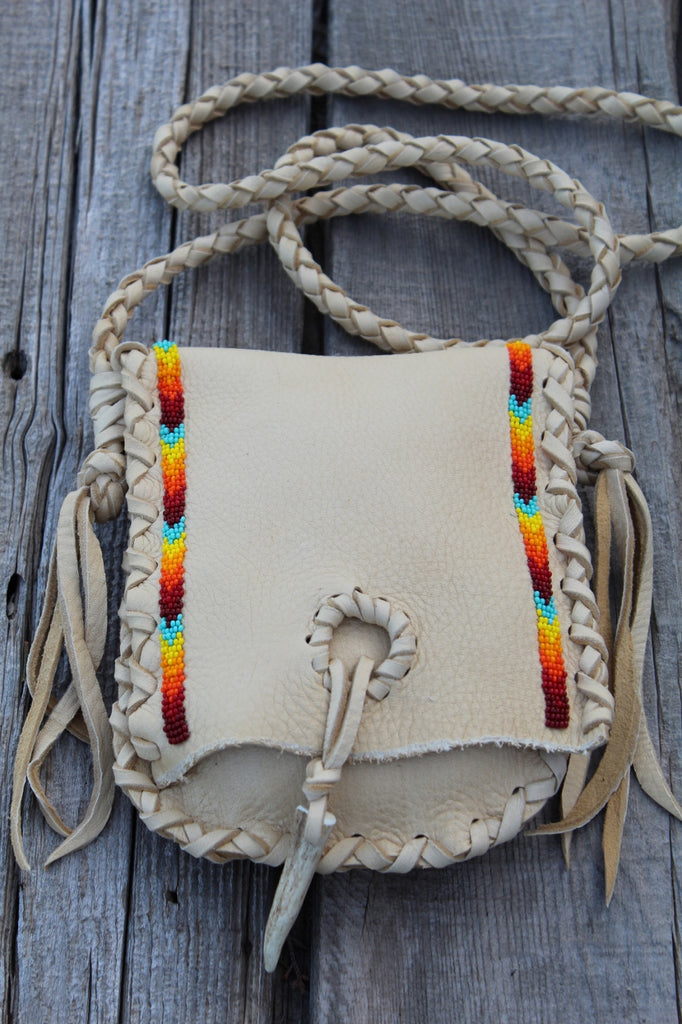 Beaded medicine bag , beaded leather bag, rainbow beadwork bag, handmade leather pouch, shamans bag