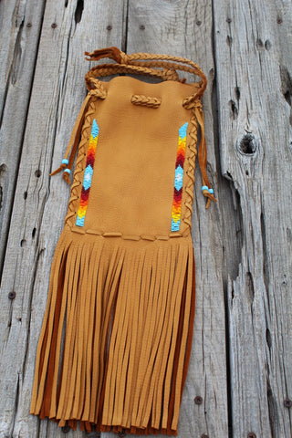 Beaded buckskin medicine bag, fringed leather pipe bag, shamans bag