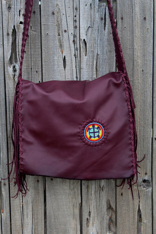 Burgundy leather messenger bag, beaded turtle handbag