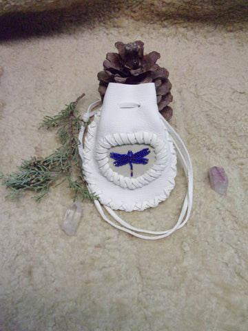 Dragonfly medicine bag, white buckskin bag