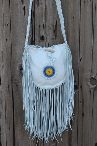 White leather fringed tote, beaded sunburst tote, bohemian style tote