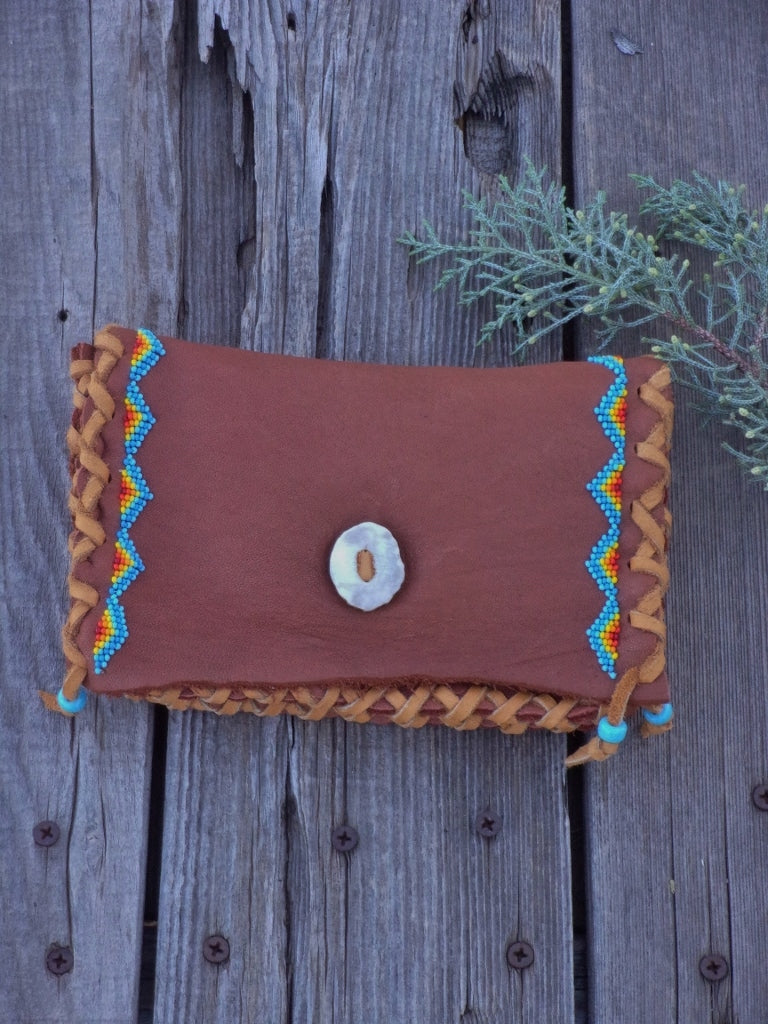Beaded leather clutch, buckskin leather bag