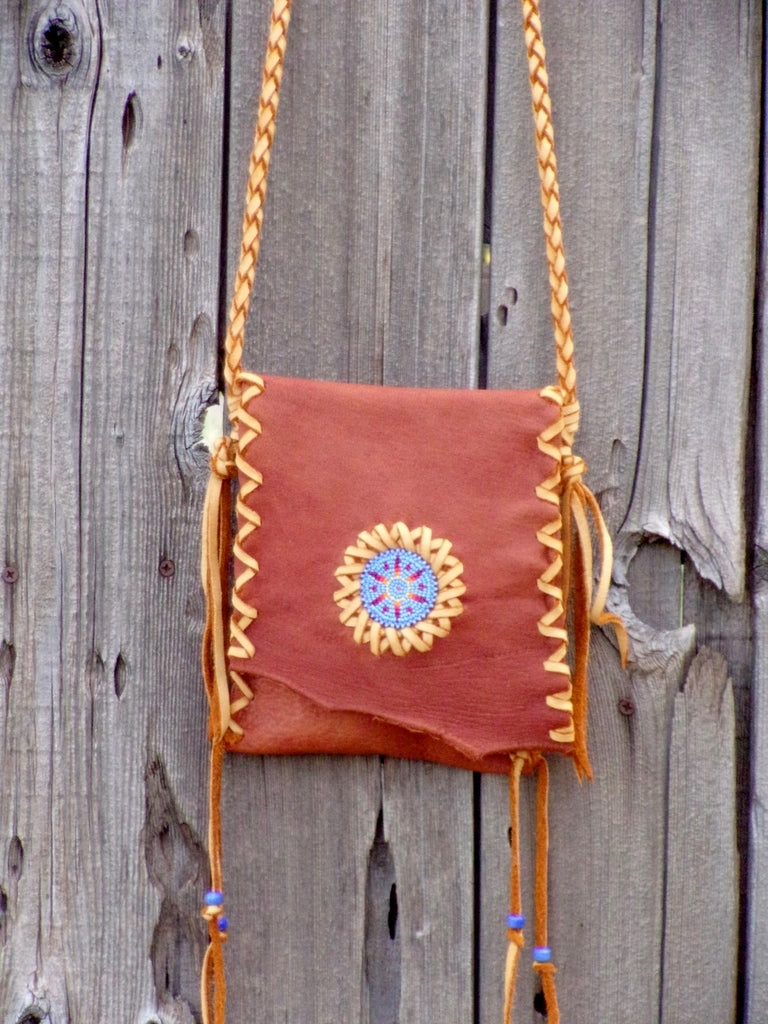 Beaded leather handbag, small leather purse