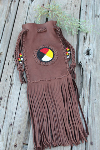 Fringed beaded medicine bag, four directions beadwork, buckskin leather bag