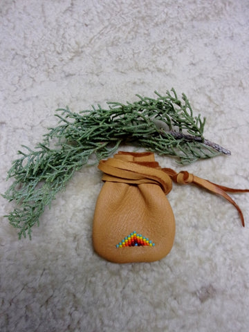 Beaded medicine bag, necklace amulet bag, beaded rainbow bag, leather medicine pouch