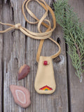 Beaded medicine bag, leather amulet bag, rainbow pouch
