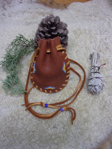 Beaded medicine bag, carved fetish bag, drawstring leather pouch, handmade amulet bag