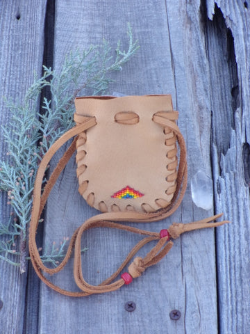 leather bag , beaded rainbow pouch, drawstring bag