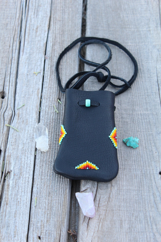 Beaded black leather medicine bag, buckskin leather pouch