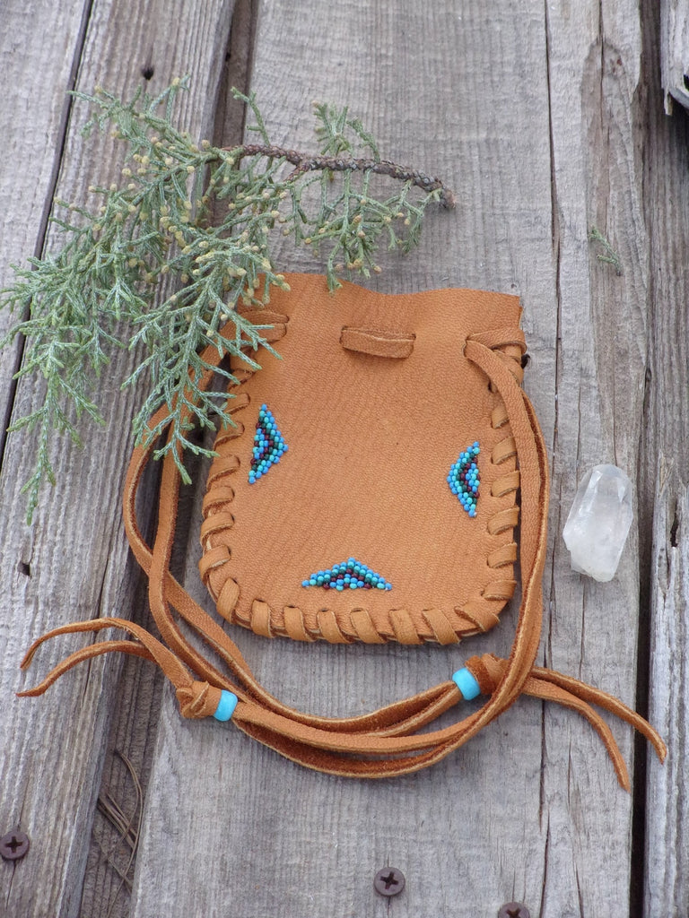 Beaded leather medicine bag, leather pouch