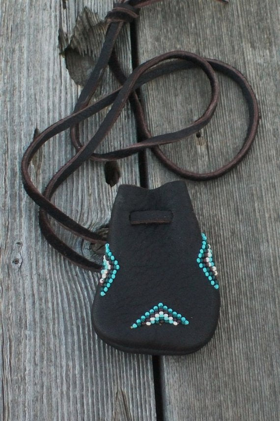 Beaded medicine pouch , amulet bag
