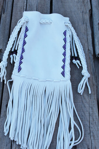 White buckskin leather bag, beaded medicine bag
