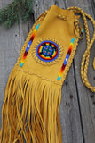 Fringed leather beaded bag, deadhead bag, rainbow bag