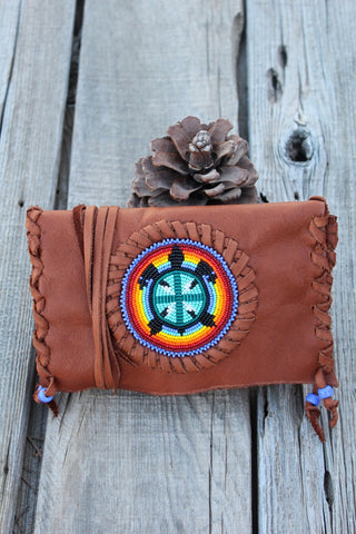 Beaded turtle totem clutch, beaded leather clutch