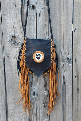 Fringed beaded bear paw leather bag, small leather bag