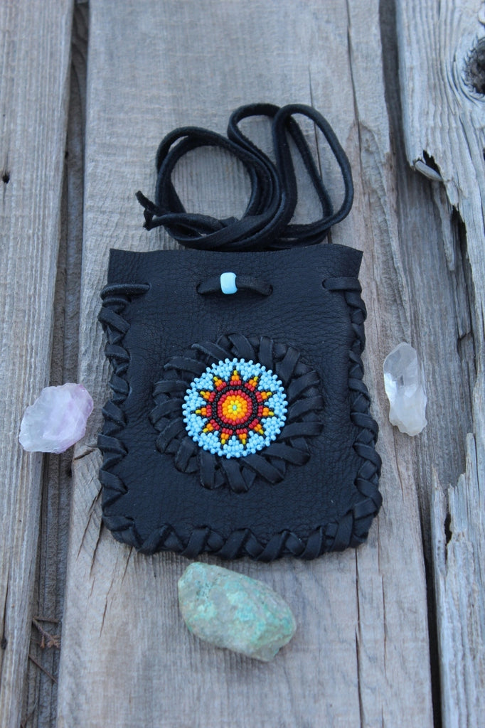 Black leather beaded medicine bag, amulet necklace bag