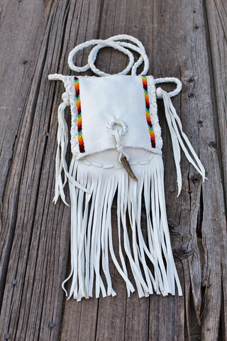 White buckskin beaded handbag, fringed leather purse