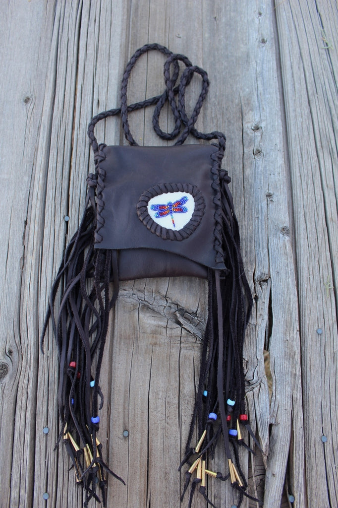 Beaded dragonfly bag, leather phone bag