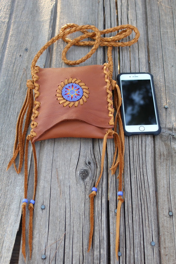 Beaded leather handbag, phone bag