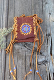 Beaded medicine bag , leather amulet bag