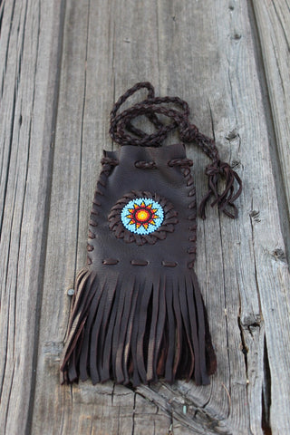 Beaded medicine bag, beaded sunflower necklace bag